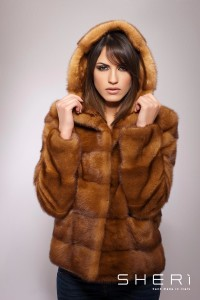 Lembo - discolored mink coat with hood - Code: 10010