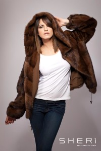 GA100 - demi mink coat with hood - Code: 10012/3