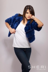 01 - blue / discolored mink short jacket - Code: 10016/2