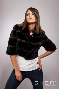 01 - Black / discolored mink short jacket - Code: 10016