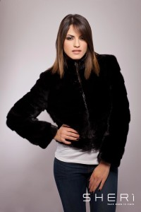 Naomi - black mink warm jacket - Code: 10017