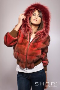 10018 - Bomber rabbit fur - rabbit-mink red - Code: 10018