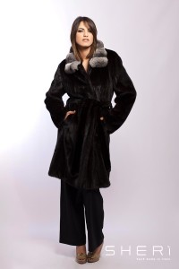 Katia - Black mink coat + chinchilla - Code: 10024