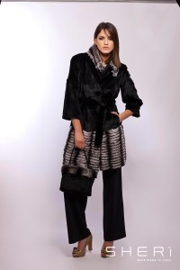 Sara - Pink mink coat - rex chinchilla - Code: 10026