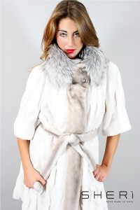 Laura - pink / white mink kid coat + silver fox - Code: 10028