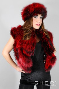 Jolie - nickel silver fox waistcoat - red rabbit hair - Code: 101