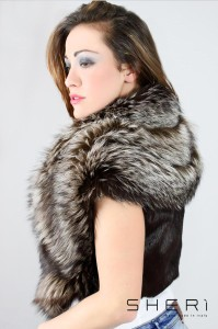 Jolie - nickel silver fox waistcoat - brown rabbit hair - Code: 101
