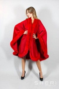 Monica - cashmere cape – red fox - Code: 1022