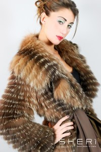 Diana - brown / nickel silver mink jacket - Code: 118