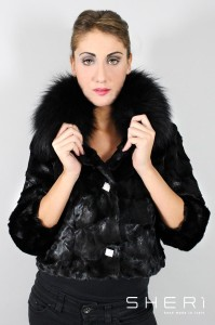 860 - mink short jacket - black fox - Code: 3000