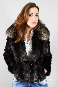 Carol - mink jacket + brown / nickel silver fox - Code: 3003/1