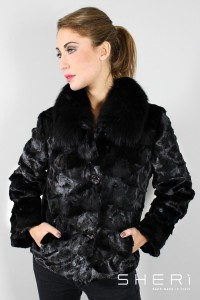 Carol - mink jacket - black fox - Code: 3003