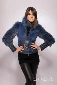 138 - fox warm jacket – blue rabbit hair - Code: 600