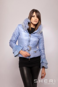 202 - woven warm jacket - rabbit hair + lavender raccon dog - Code: 602