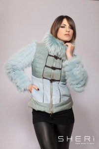 810 - fox warm jacket + rabbit hair + aqua green raccon dog - Code: 605