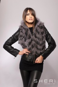 911 - grey fox hair warm jacket - black tassel - Code: 607