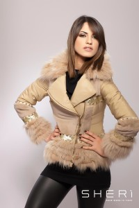 106 - rabbit hair warm jacket - light brown - fox - Code: 610