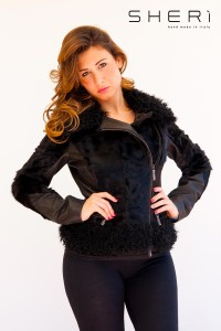 1023 - goatskin warm jacket - black Mongolian lamb - Code: 616