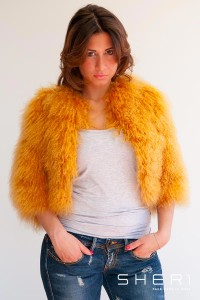 Sete - orange Mongolian lamb short jacket - Codice: 8002