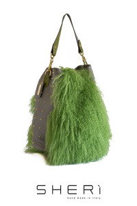 Secchio aperto - green Mongolian lamb bag - Jolie Collection
