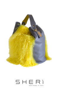 Secchio aperto - yellow Mongolian lamb bag - Jolie Collection