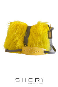 Postina - yellow Mongolian lamb bag - Jolie Collection
