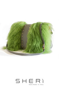 Postina - green Mongolian lamb bag - Jolie Collection