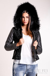 Artic - black Persian warm jacket - bomber with hood - Jolie Collection
