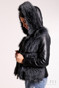 Artic - gray Fox warm jacket - bomber with hood + tassel - Jolie Collection