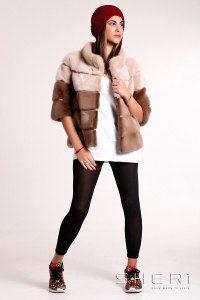 Tullio - beige - brown Mink jacket - Jolie Collection