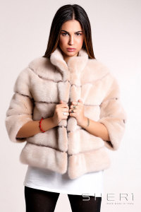 Tullia - beige - brown Mink jacket - Jolie Collection