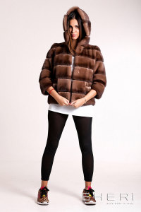 Vanity - brown Mink jacket - bomber with hood - Jolie Collection