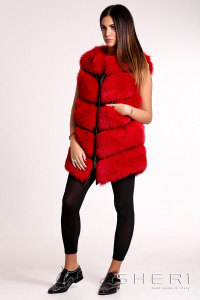 5460 - red Fox waistcoat + tassel - Jolie Collection