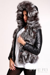 Artic - gray-black Fox warm jacket - bomber with hood + tassel - Jolie Collection