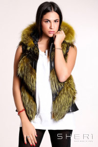 Artic - yellow Fox waistcoat with hood + tassel - Jolie Collection
