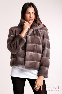 Vanity - brown - yellow Mink jacket - bomber with hood - Jolie Collection