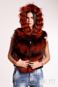 Artic - orange Fox warm jacket - bomber with hood - Jolie Collection