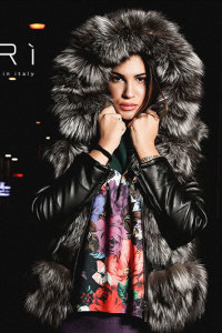 Artic - fox warm jacket gray - black - Jolie Collection