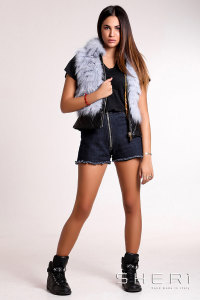 Bomber - lavander Fox waistcoat with hood + tassel - Jolie Collection