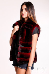 5481 - bordeaux Chinchilla waistcoat - Jolie Collection