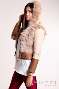 Bomber - brown-red Fox warm jacket with hood + tassel - Jolie Collection