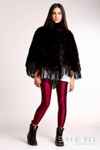 Patty - brown Mink poncho + chamois - Jolie Collection