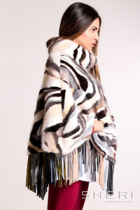 Patty - multicolor Mink poncho + chamois - Jolie Collection