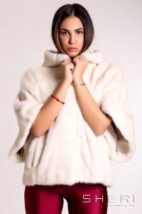 kimono - white Mink cape with hood - Jolie Collection