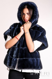 RF682 - blue Mink jacket with hood - Jolie Collection