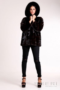 Lembo - brown Mink jacket with hood - Jolie Collection