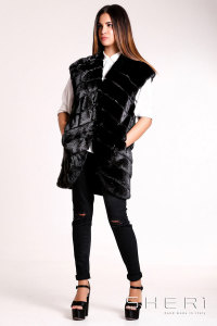 RF1033 - black Mink waistcoat - Jolie Collection