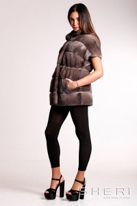 Franca - brown - gray Mink waistcoat - Jolie Collection