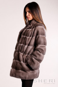 Tommi - brown - gray Mink coat - Jolie Collection