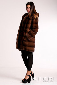 G-03 - brown Mink coat with hood - Jolie Collection